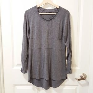 Prana Gray Ruched Sleeve Tunic Top